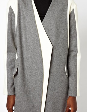 ASOS | ASOS Coat With Asymmetric Color Block at ASOS