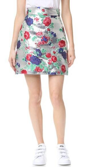 skirt floral skirt metallic floral silver