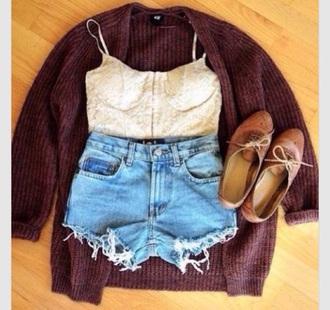 cardigan burgundy sweater lace bralette