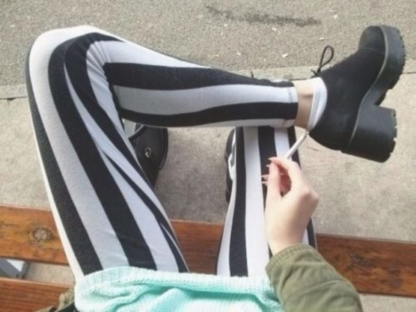 pants striped pants black and white pants grunge grunge hipster hipster soft grunge boots leggings ankle boots striped leggings shoes