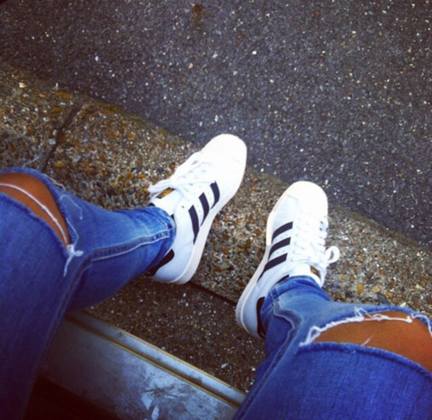 shoes adidas adidas superstars white classic jeans sneakers