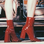 shoes,boots,red,leather,leather boots,heels,heel