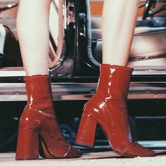 shoes boots red leather leather boots heels heel