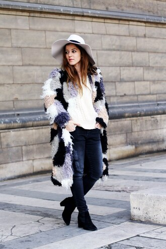 elodie in paris blogger coat hat fuzzy coat multicolor black jeans white hat black boots white top winter outfits fall outfits