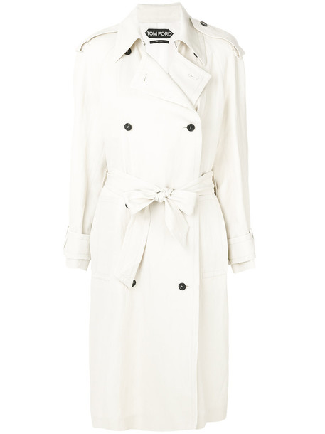 Tom Ford coat double breasted women white silk