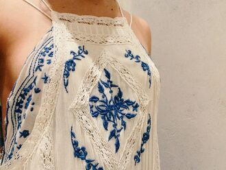 shirt lace white blue floral tank top top tank halter top top embroidery top blue shirt embellished top summer top summer dress white dress white top blue blouse embroider neckline crochet casual fancy formal summer crochet dress