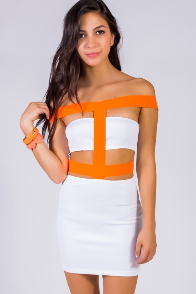 Trendy Cute Bright white/neon orange cut out bandage strap fitted bodycon clubbing mini dress fo cheap | Affordable Clothing | 1015 store