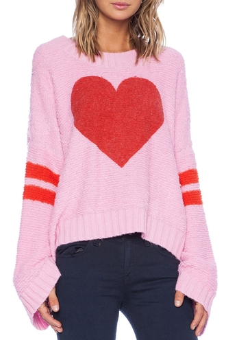 sweater heart pink red cute fall outfits fashion style casual cozy oversized sweater top pink sweater knitted sweater heart sweater