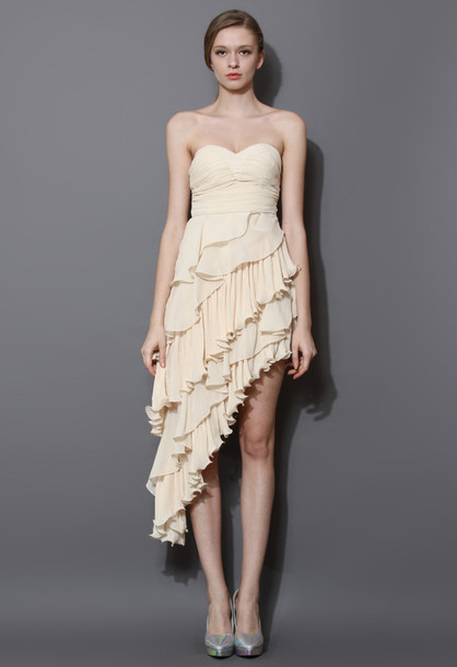dress asymmetrical tiered ruffle bustier beige