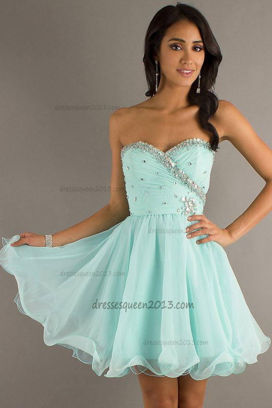 Homecoming Dresses 2013 A Line Sweetheart Beading Sleeveless Short