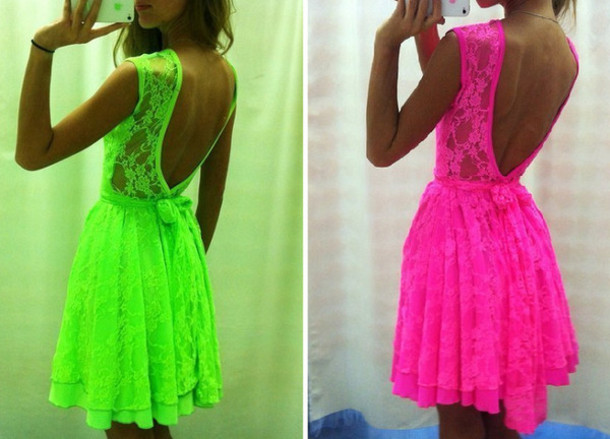 Dress: neon neon dress neon pink pink green dress pink by ...