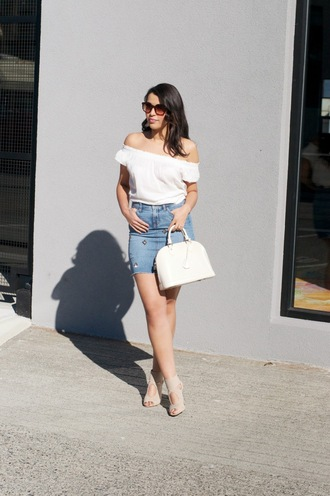 gumboot glam blogger skirt top sunglasses shoes bag jewels denim skirt handbag off the shoulder top white top sandals summer outfits