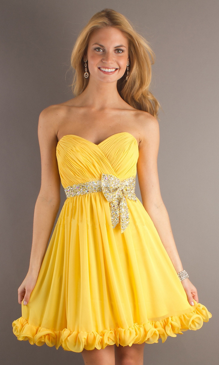 Chiffon Ruching Empire Regency Baby Doll Bowknot Prom Dress - Promdresshouse.com