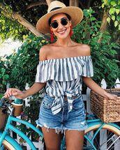 hat,sun hat,straw hat,off the shoulder,off the shoulder top,shorts,denim,sunglasses,earrings