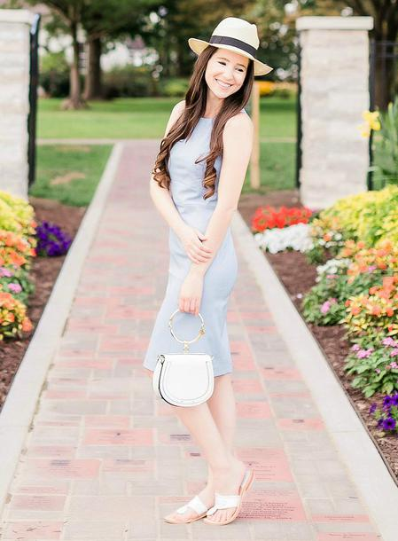 diary of a debutante blogger dress hat shoes jewels bag blue dress white bag summer outfits