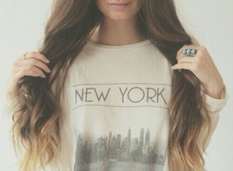 top style fashion shirt new york city clothing clothes white top grey top cute top
