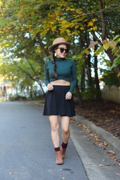 gracefullee made,blogger,top,skirt,jewels,hat,sunglasses,make-up,shoes,mini skirt and ankle boots