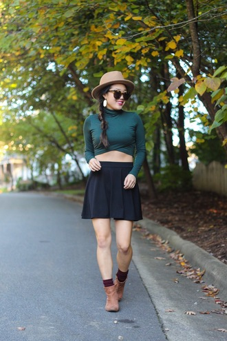 gracefullee made blogger top skirt jewels hat sunglasses make-up shoes mini skirt and ankle boots