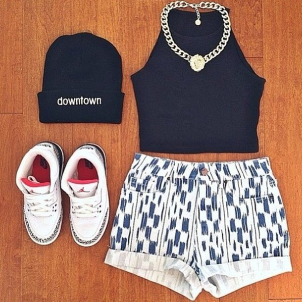shorts vintage blue and white jordans downtown beanie shoes hat shirt jewels nike nike air nike shoes necklace air jordan tank top black 134 $ us printed shorts t-shirt bonnet crop tops swag collier swag gold necklace top