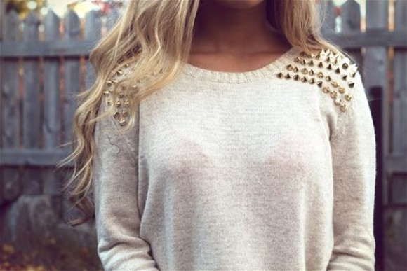 sweater spikes white long sleeves knit spike beige gold golden shirt cozy warm cool nice warm sweater clothes sweatshirt stud studs studded cosy winter hair curly hipster summer shorts piked spiked sweater blouse studded shirt studded sweater knitwear