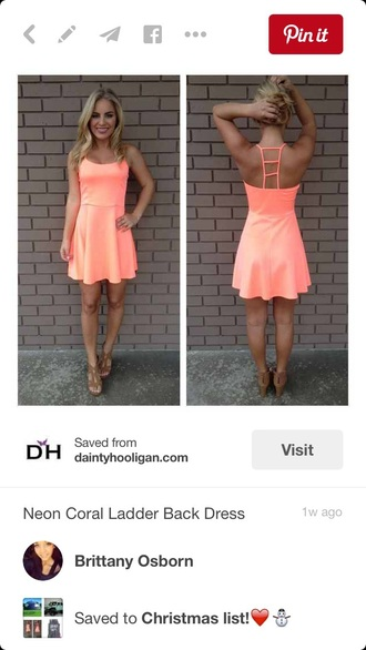 dress coral cute summer dress spring top short dress
