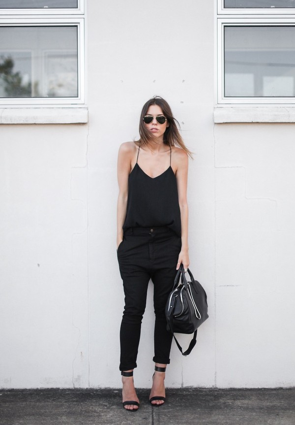 modern legacy tank top pants shoes bag sunglasses blouse top black cami top black top cami top black pants sandals sandal heels high heel sandals black sandals black bag all black everything