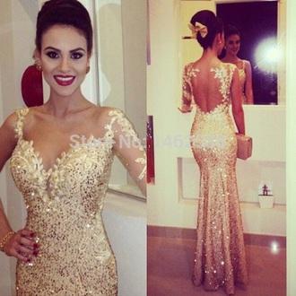 dress mermaid prom dress gold sequins gold dress prom dress gold