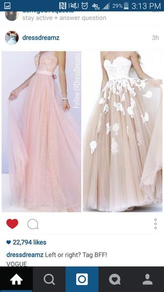 dress strapless dresses flowery dress long dress prom dress pink dress white dress beige dress