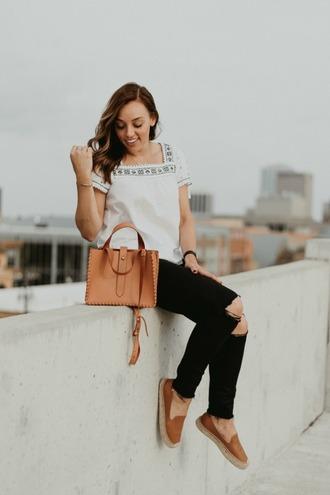 sharingmysole blogger top jewels bag jeans shoes handbag black jeans espadrilles summer outfits