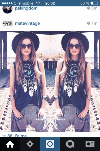 shirt hat pants t-shirt boho moon dreamcatcher vintage