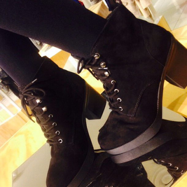 black, ankle boots, boots, lace up
