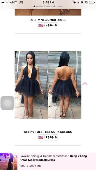 dress black cute tutu sexy plunge v neck evening dress party dress deep v neck sexy dress