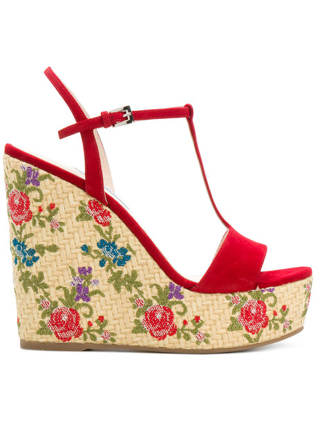 Prada women sandals wedge sandals floral leather suede red shoes