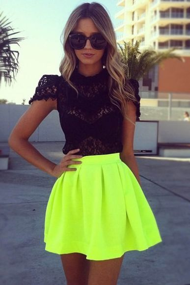 skirt neon skirt top black top lace top black lace top where did u get that where to get this top lime green neon t-shirt shirt blouse black blouse sunglasses flurescent yellow fluro pleated skirt neon yellow short skirt lime fashion bright yellow black top skirt summer cute dress top, lace, neon, a-line skirt green yellow