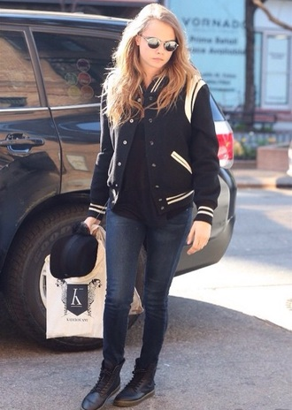 shoes cara delevingne jacket delevigne baseball baseball jacket new york black and white black jacket black saint laurent