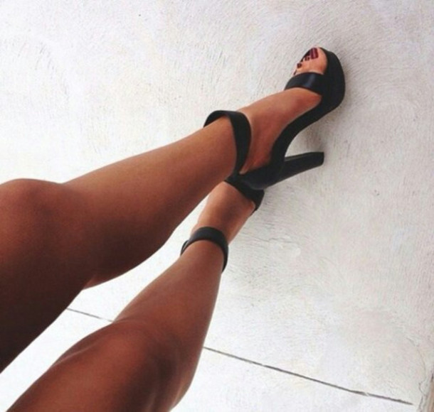 shoes heels black legs girl fashion high heels trendy thick heel black heels