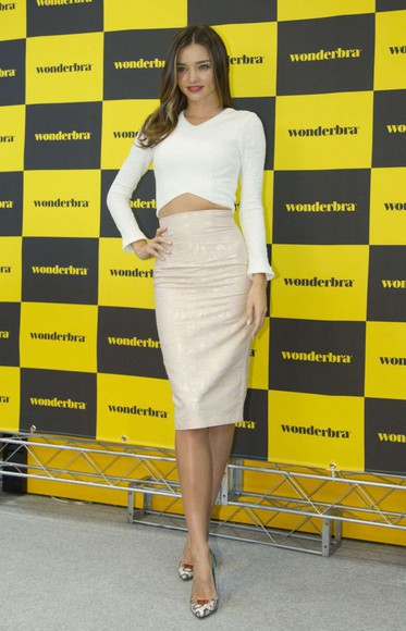 miranda kerr top skirt pencil skirt crop tops