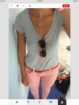 jeans pink cute belt sunglasses