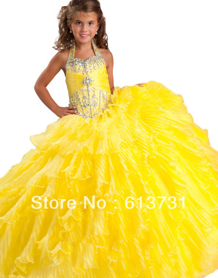 Aliexpress.com : buy free shipping 2013 halter yellow girls prom pageant dresses long beaded layered flower girl dresses 10 years old rg 6135 from reliable dress new suppliers on suzhou babyonline dress store
