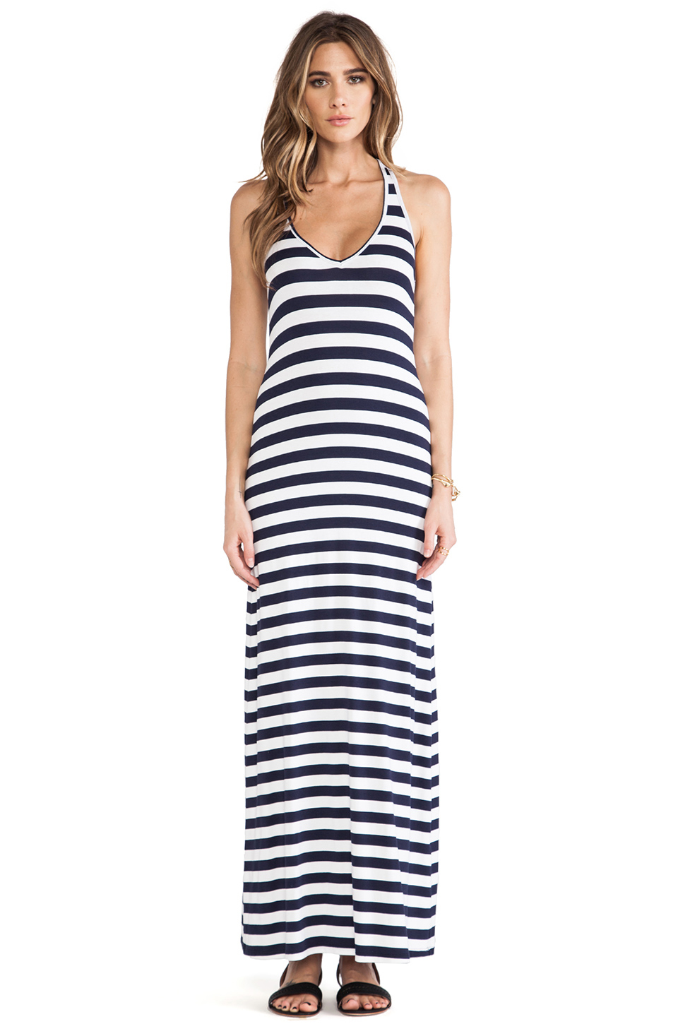 Feel the piece striped v neck maxi in navy & white stripe from revolveclothing.com
