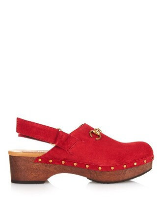 clogs suede red shoes