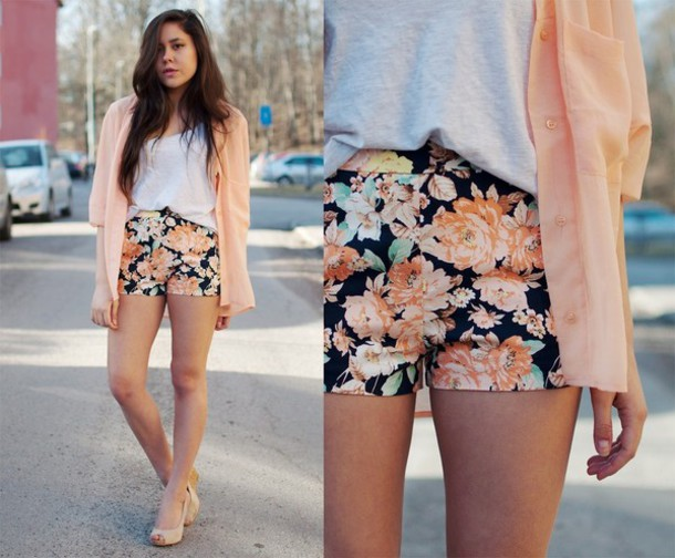 Shorts: floral, high waisted shorts, flowered shorts, black, baby ...
