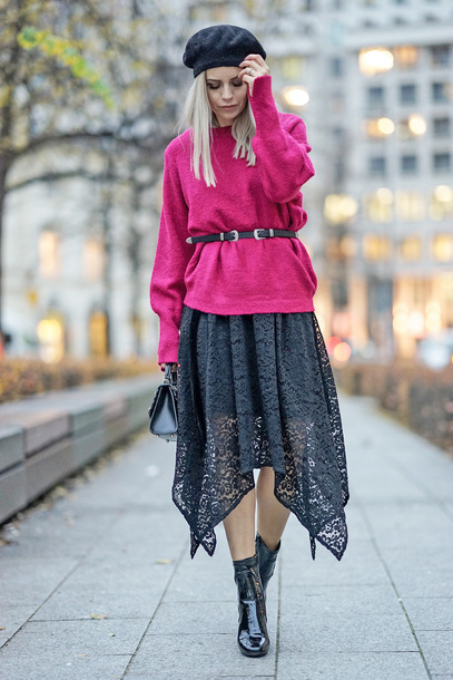sweater tumblr pink sweater belt hat beret skirt midi skirt asymmetrical asymmetrical skirt boots black boots