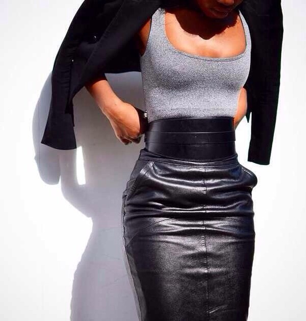 Knee Length Leather Skirt - Black