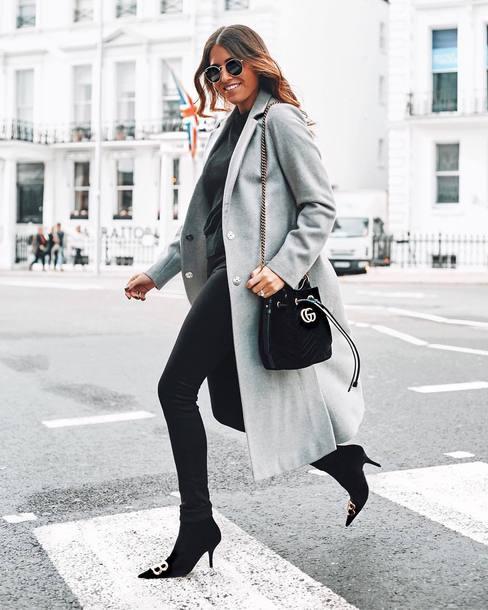 coat grey coat long coat wool coat sock boots skinny jeans black jeans black blouse sunglasses shoulder bag