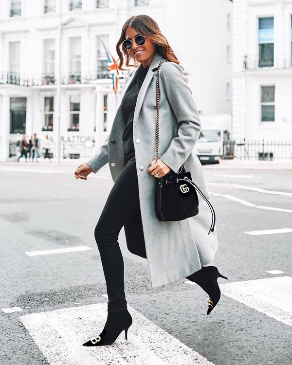 coat grey coat long coat wool coat sock boots skinny jeans black jeans black blouse sunglasses shoulder bag