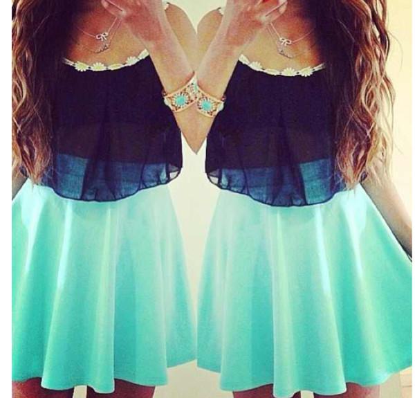 blouse shirt black sunflower crop blue skirt dress skirt mint black neon blue daisy crop tops