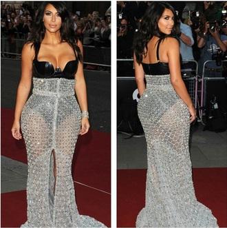 black high waisted skirt kim kardashian silver bodysuit sexy celebrity style