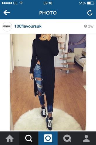 t-shirt black tee slit black slitted tshirt dress slitted maxi skirt