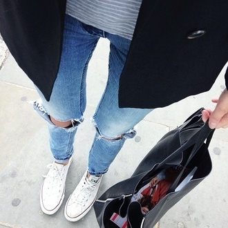jeans ripped jeans black bag